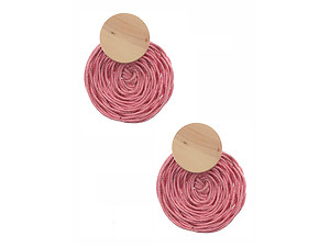 Colorful & Fun Round Wood Woven Cord Flower Post Pin Earrings