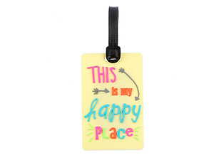 Travel Suitcase ID Luggage Tag and Suitcase Label - Happy Place