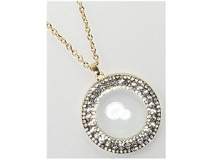 Pave Crystal Stone Magnifying Glass Pendant Necklace