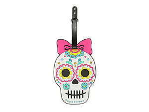 Pink Bow Flower Skull ~ Travel Suitcase ID Luggage Tag and Suitcase Label