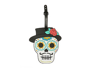 Black Hat Flower Skull ~ Travel Suitcase ID Luggage Tag and Suitcase Label
