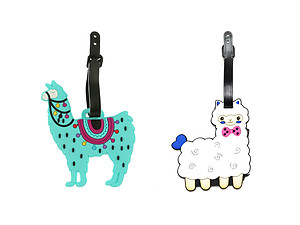 Aqua Blue Llama & Sheep ~ Travel Suitcase ID Luggage Tag and Suitcase Label