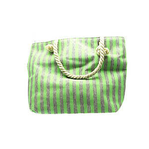 Green Fabric Striped Tote with Rope Handle Multi Use Bag