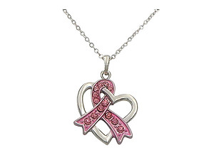 Breast Cancer Awareness Ribbon Heart Necklace