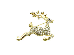 Gold Tone Crystal Stone Paved Christmas Reindeer Pin and Brooch