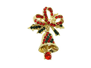 Crystal Stone Paved Christmas Bell Pin and Brooch