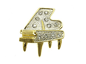 Crystal Stone Paved Piano Pin and Brooch in Goldtone