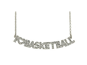 Crystal Stone Paved I Love Basketball Necklace in Silvertone
