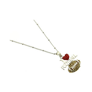 Crystal Stone Paved I Love Football Necklace in Rhodium Tone