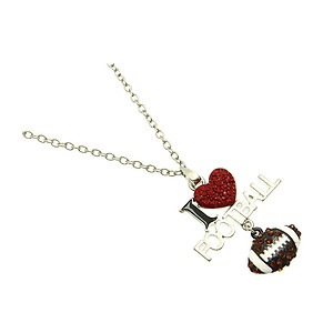 Brown Crystal Stone Paved I Love Football Necklace