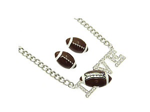 I Love Football Jewelry Set in Rhodium Tone