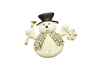 Goldtone Crystal Stone Paved Metal Snowman Pin and Brooch