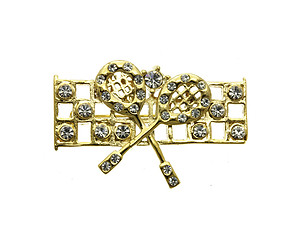 Crystal Stone Paved Tennis Net Pin and Brooch
