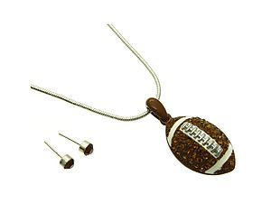 Football Link Necklace and Earring Set in Antique Silver Tone