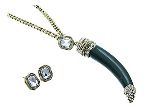 Antique Goldtone or Silvertone Crystal Stone Horn Jewelry Set