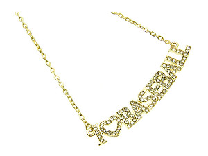 Crystal Stone Paved I Love Baseball Necklace in Goldtone