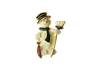Glitter Coated Snowman Pin and Brooch in Gold Tone