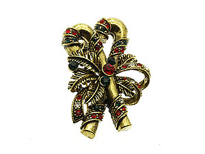 Crystal Stone Paved Candy Cane Pin and Brooch in Antique Goldtone