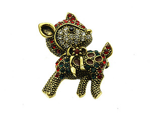 Crystal Stone Paved Reindeer Pin and Brooch