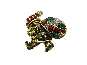 Metal Burnish Santa Claus Pin and Brooch