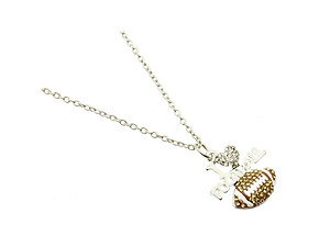 Crystal Stone Paved I Love Football Link Necklace in Rhodium Tone