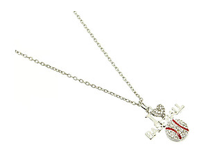 Crystal Stone Paved I Love Baseball Link Necklace in Rhodium Tone