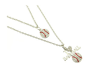 Double Stranded I Love Baseball Link Necklace in Silvertone