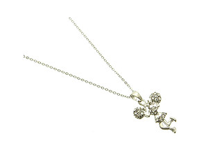 Silvertone Crystal Stone Paved Cheerleader Charm Necklace