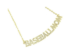Crystal Stone Paved BASEBALLMOM Necklace in Goldtone
