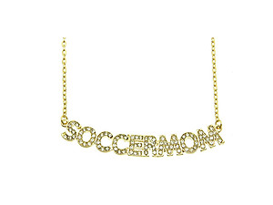 Crystal Stone Paved SOCCERMOM Necklace in Goldtone