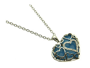 Aqua Blue Crystal Stone Hearts Necklace
