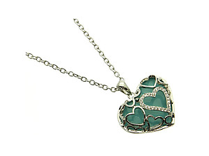 Turquoise Crystal Stone Hearts Necklace