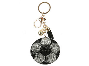 Soccer Ball Tassel Bling Faux Suede Stuffed Pillow Key Chain Handbag Charm