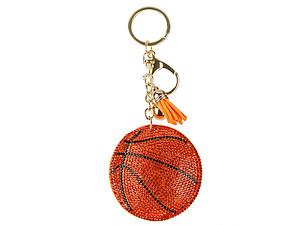 Basketball Tassel Bling Faux Suede Stuffed Pillow Key Chain Handbag Charm