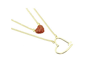Crystal Stone Paved Double Stranded Red Heart Necklace