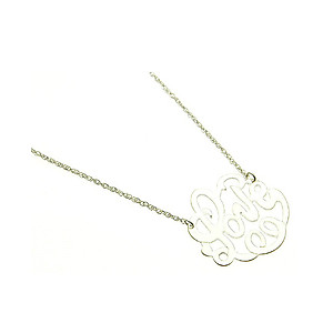Metal Message LOVE Necklace in Matt Silvertone