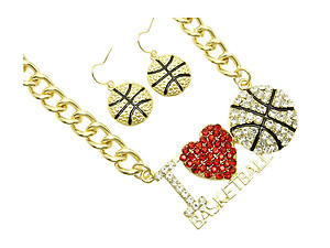 I Love Basketball Metal Link Jewelry Set in Goldtone