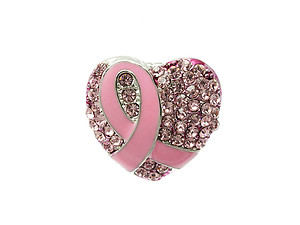 Pink Ribbon Crystal Rhinestone Heart Stretch Ring