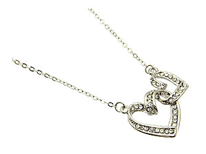 Clear Heart Necklace in Silvertone