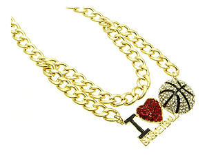 I Love Basketball Metal Link Metal Chain w/ Clear Ball