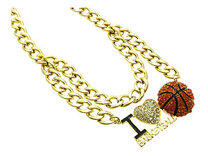 I Love Basketball Metal Link Metal Chain w/ Orange Ball