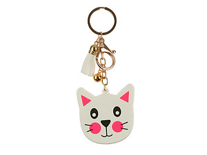 Kitten Tassel Faux Suede & Rubber Key Chain Handbag Charm