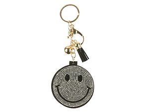 Smiley Face Mirror Tassel Bling Faux Suede Round Keychain Handbag Charm