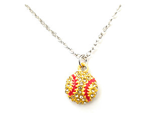 Dainty Crystal Stone Paved Yellow Softball Necklace