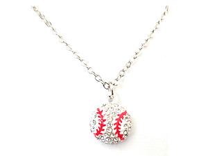 Dainty Crystal Stone Paved White Baseball Necklace