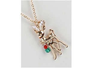 Metal Reindeer Pendant Christmas Necklace