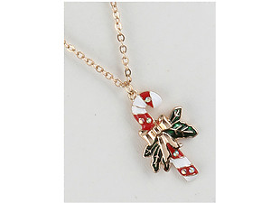 Metal Candy Cane Pendant Christmas Necklace