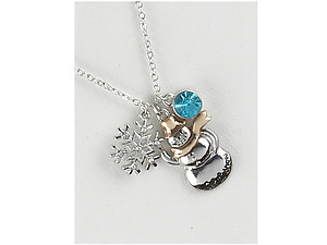 Metal Snowman & Snowflake Charm Pendant Christmas Necklace