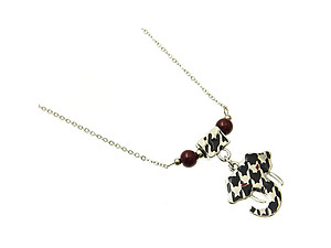 Metal Houndstooth Pattern Elephant Head Necklace with Luctite Beads