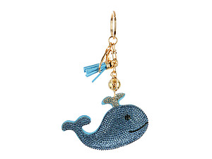 Blue Whale Tassel Bling Faux Suede Stuffed Pillow Key Chain Handbag Charm